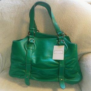 Merona Green Faux Leather Tote Handbag